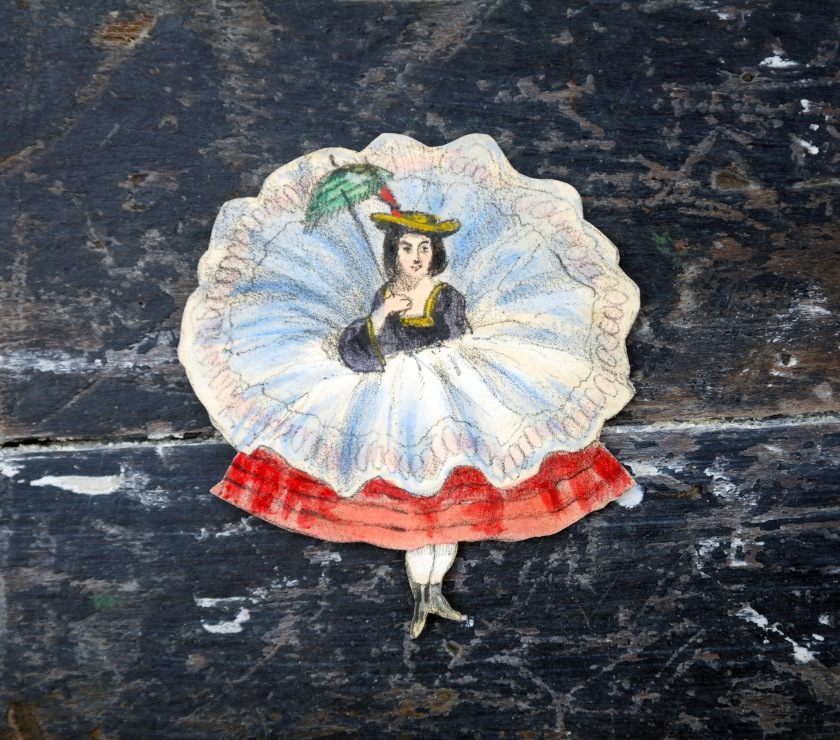 Paper cut out Victorian style lady. Vintage paper craft supplies. Whimsical style.