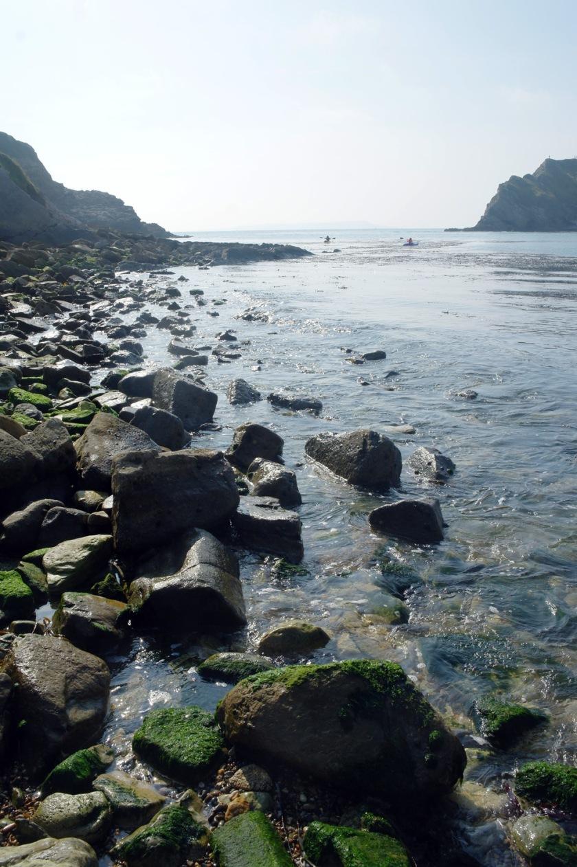 Rocks at Lulworth Cove, Dorset, England.