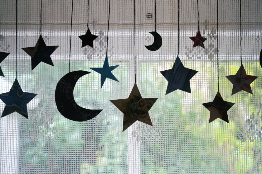 Stars and moons garland decoration. Halloween or Christmas decoration idea. Craft tutorial.