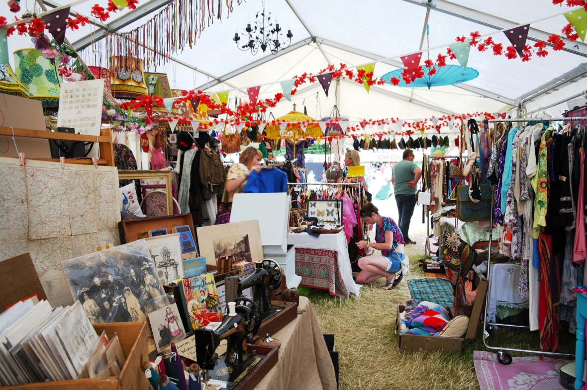 The vintage market at Larmer Tree Festival 2016.